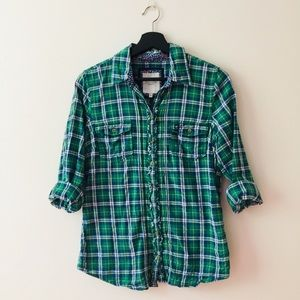 Gilly Hicks | Green Plaid Print Button Down Top
